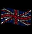 waving british flag pattern of lightning icons vector image