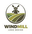 windmill farm logo design vector image