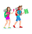 woman and man tourist hipster funny cartoon vector image vector image
