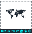 World map icon flat vector image vector image