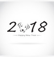 dog 2018 new year card year of vector image
