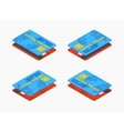 Isometric red and blue credit cards vector image