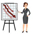 angry sad unhappy business woman with graph down vector image