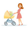 mother with baby in stroller vector image