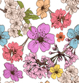 Apple flowers pattern backgrounds vector image vector image