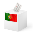 Ballot box with voting paper Portugal vector image vector image