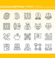 bitcoin simple black line icons set vector image
