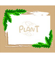 border template with leaves on cardboard paper vector image