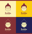 buddha head emblem sign design vector image