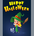 cartoon kid in halloween costume with little cat vector image vector image