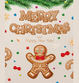 christmas greeting card with gingerbread man vector image