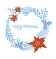 christmas wreath with flowers berries and vector image