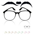 classic glasses mustache set colored lenses vector image