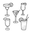 cocktail glasses set sketch engraving vector image vector image
