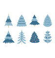 collection blue christmas trees on white vector image