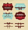 collection vintage labels ribbons and bows vector image