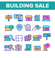 color buildings for sale linear icons set vector image vector image