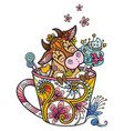 colored kawaii cute cow in a cup vector image