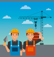 construction workers with spatula bricks crane on vector image vector image
