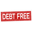 debt free grunge rubber stamp vector image vector image