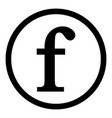 f letter icon on white vector image vector image