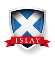 flag scotland with islay sign on ribbon vector image vector image