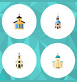 flat icon christian set of catholic building vector image vector image