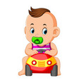 funny baby happy play with car toy vector image