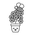 garden flowers plant in pot with bee flying kawaii vector image