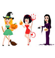 halloween set of three girls for holiday witches vector image vector image