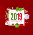 happy new 2019 year cute paper art design vector image