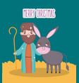 joseph and donkey manger nativity merry christmas vector image vector image