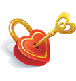 key and lock in heart shape vector image vector image