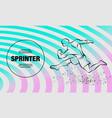 linear silhouette strong runner outline vector image