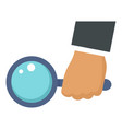 magnify glass in hand icon flat style vector image vector image