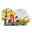 man and woman enjoying mountains view on summit vector image vector image