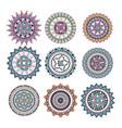 mandalas colors boho style set vector image vector image