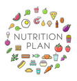 nutrition plan icons with sign in circle shape vector image