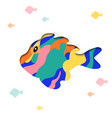 paper cut cartoon fish shape in polygonal trendy vector image