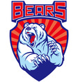roaring polar bear mascot vector image vector image