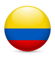 Round glossy icon of colombia vector image vector image