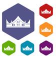 royal crown icons set hexagon vector image
