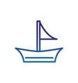 sailboat transport marine life thick line blue vector image