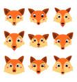 set cartoon cute fox faces isolated vector image vector image