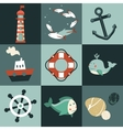 set with nautical design elements vector image