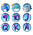 Sharks and letters on round badges vector image