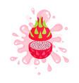 sliced ripe pitaya juice splashing colorful fresh vector image