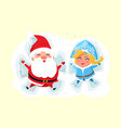 snow maiden and santa claus making angel on snow vector image