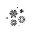 snowflake black flat icon set vector image vector image