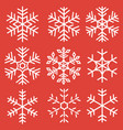 snowflake icons set isolated on red background vector image vector image